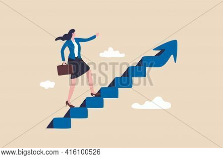 Career Success For Woman Or Female Leadership, Goal Achievement And Business Challenge Or Gender Equ