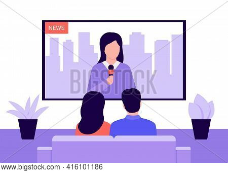 People Sitting On Couch And Watching News On Television At Home. Couple Man And Woman Watching Tv, B
