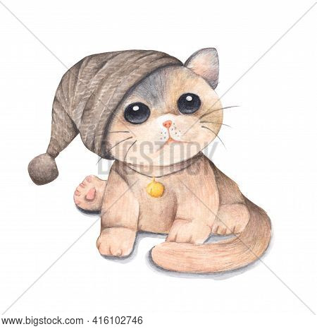 Cat Wearing A Brown Knitting Hat. Isolated On White Background. Watercolor And Colored Pencil Illust