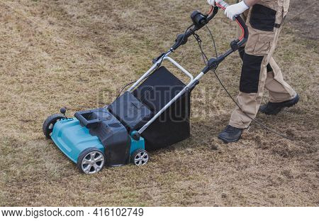 Scarifying Lawn With Scarifier, Man Gardener Scarifies The Lawn And Removal Of Old Grass