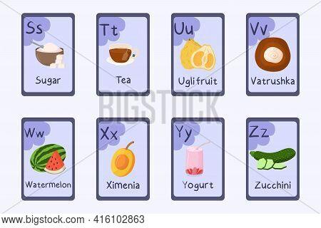 Colorful Alphabet Letter S, T, U, V, W, X, Y, Z - Sugar, Tea, Ugli Fruit, Vatrushka, Watermelon, Xim