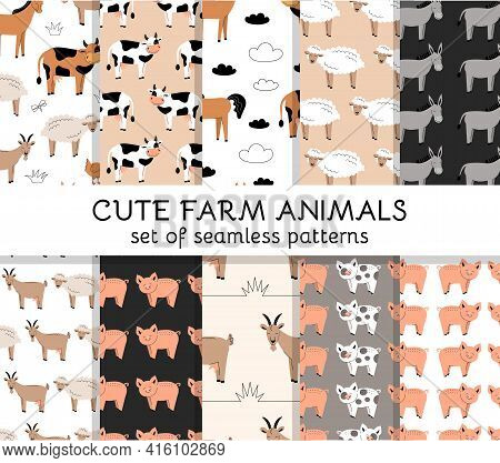 Set Of Seamless Patterns With Cute Farm Animals And Birds. Cow, Sheep, Horse, Pig, Goat, Donkey, Chi
