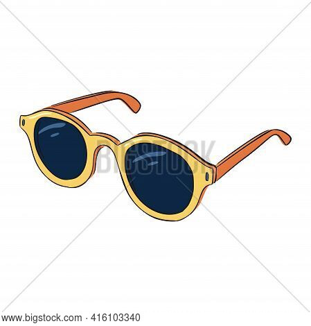 Hand Drawn Yellow And Orange Sunglasses. Line Drawing Colourful Sunglasses Isolated Vector Illustrat