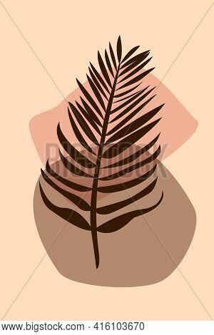 Palm Leaf Boho Pattern Background. Boho Minimalist Abstract Plant Illustration For Design Nursery Wa
