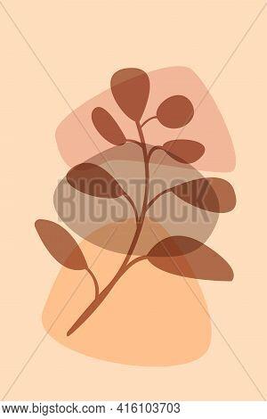 Branch Of Plant Boho Pattern Background. Boho Minimalist Abstract Plant Illustration For Design Nurs