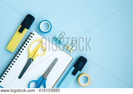School And University Supplies On Blue Background With Space For Text. Back To School, Online Educat