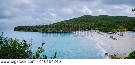 Grote Knip Beach Curacao, Island Beach Of Curacao In The Caribbean Men And Woman On Vacation Visit T