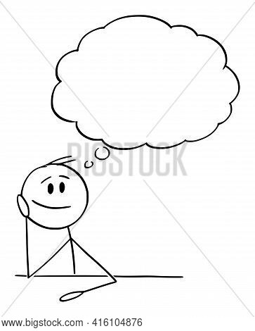 Man Or Businessman Thinking With Empty Thought Bubble,  Cartoon Stick Figure Illustration