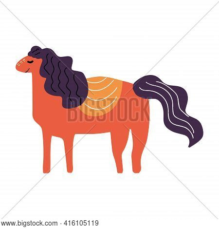 Cute Horse Drawn By Hand In The Style Of Doodle. Vector Illustration For Children's Books, Postcards