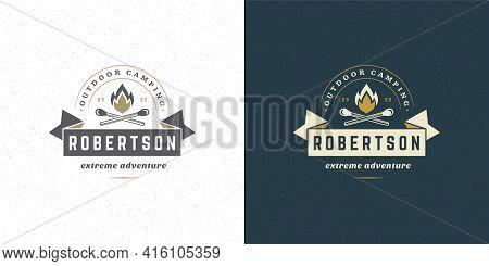 Campfire Logo Emblem Vector Illustration Outdoor Forest Camping Bonfire Silhouette For Shirt Or Prin