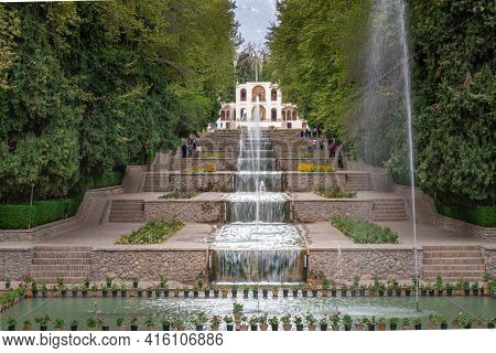 Mahan, Iran - 04.09.2019: Water Cascades Of Shahzadeh Mahan Historical Garden, Iran. Beautiful Persi