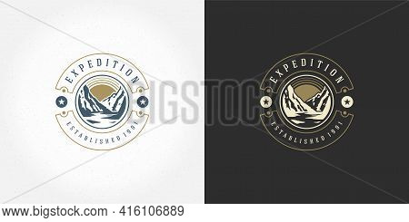 Mountain Camping Logo Emblem Outdoor Landscape Vector Illustration Rock Hills Silhouette For Shirt O
