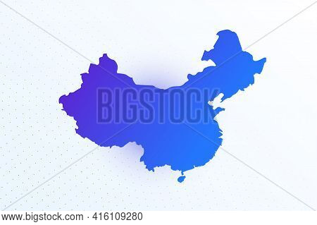 Map Icon Of China. Colorful Gradient Map On Light Background. Modern Digital Graphic Design. Light W