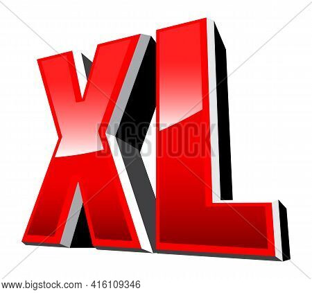 Xl Size Sign 3d Vector Graphic Clothing Label Isolated On White Background