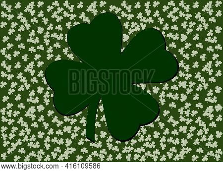 Vector Drawing. Background For The Holiday Of St. Patrick. There Are Many Clover Leaves And A Four-l