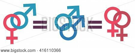 Family Equality Concept. Equality Of Traditional Relationships And Families Of Gays Or Lesbians. Equ