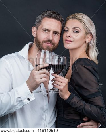 Sexy Couple In Love Of Woman And Man With Wine Glass Embrace And Celebrate Spacial Occasion, Date