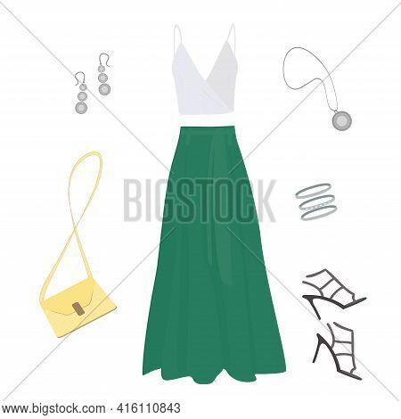 Long Emerald Skirt, White Tank Top, Dark Stiletto Sandals, Light Yellow Women's Handbag, Silver Earr