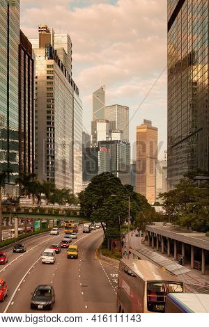 Hong Kong, Wan Chai, China - November 13, 2008: Skyline Of Office Buildings At Gloucester Road In Ce