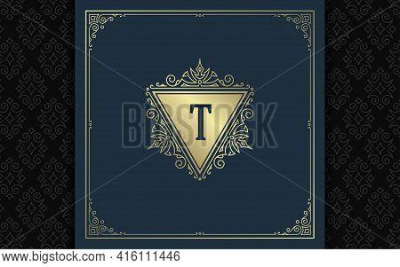 Vintage Monogram Logo Elegant Flourishes Line Art Graceful Ornaments Victorian Style Vector Template
