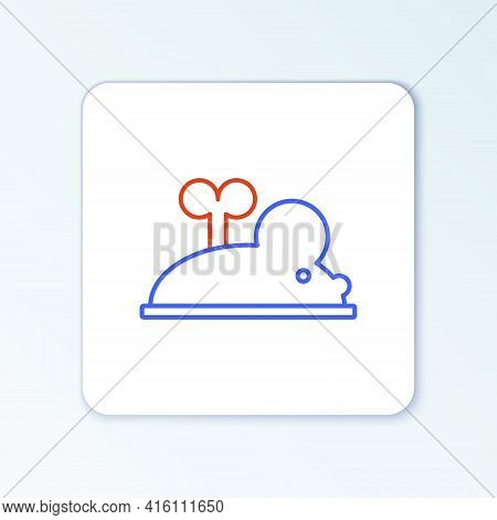 Line Clockwork Mouse Icon Isolated On White Background. Wind Up Mouse Toy. Colorful Outline Concept.