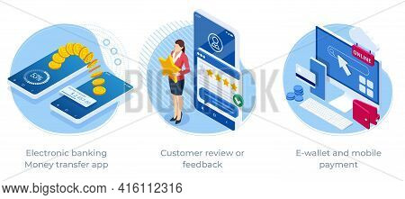 Isometric Electronic Banking Money Transfer App, Customer Review Or Feedback, E-wallet And Mobile Pa