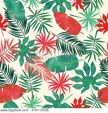 Tropical Leaves Pattern. Seamless Vector Red And Green Jungle Tropic Background.