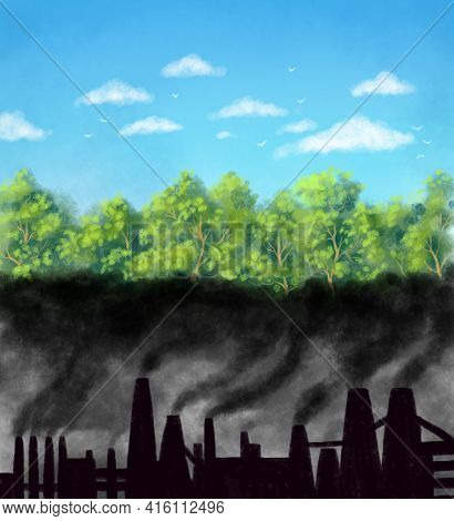 Illustration. Destruction Of The Atmosphere, Smog Of Factories, In The Place Of Which There Could Be