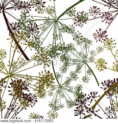 Brown Yellow Green Gray Vector Seamless Pattern Of Dill Seeds Is On A White Background