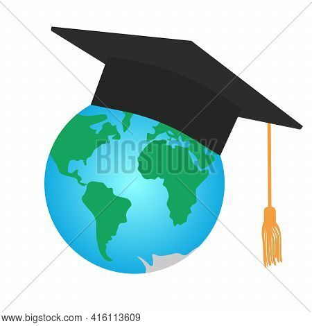 Graduating Square Cap Or Mortar Board And Planet Earth. International Graduation. Vector Illustratio