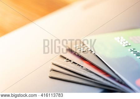 Some Credit Cards. Online Shopping. Pay Card Concept