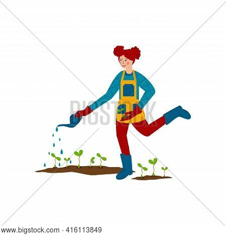 Happy Girl Is Watering Young Seedlings. Spring Work In The Garden. Water Is Pouring Out Of The Water