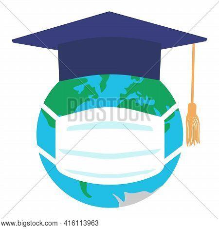 Graduating Square Cap Or Mortar Board And Planet Earth In Medical Mask. Graduation In Pandemic Disea