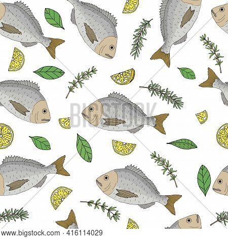 Beautiful Seamless Pattern, Color Fish Dorado With Lemon, Thyme, Basil, Rosemary. Vector Illustratio