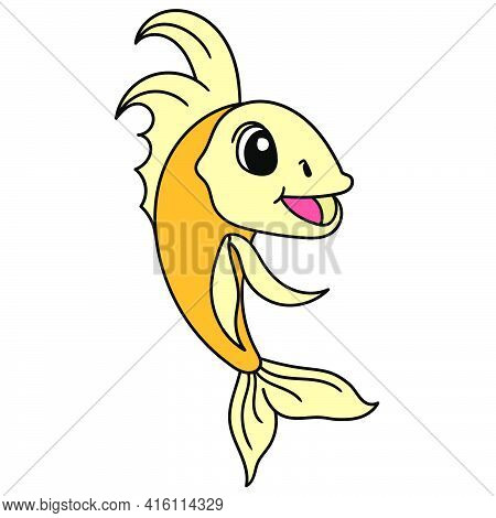 Goldfish Swimming With A Happy Smiling Face, Character Cute Doodle Draw. Vector Illustration