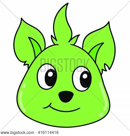 Smiley Green Cute Dog Animal Head Emoticon, Character Cute Doodle Draw. Vector Illustration