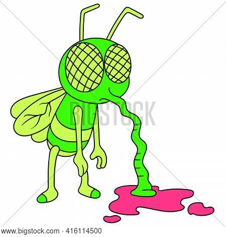 Cartoon Mosquito Sucking Blood, Character Cute Doodle Draw. Vector Illustration