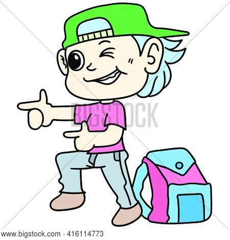 Student Boy Cartoon Stickers With A Cool And Seductive Style, Character Cute Doodle Draw. Vector Ill