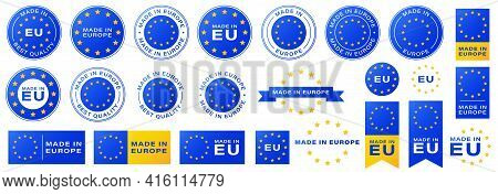 Labeling - Made In Europe. Stamps And Tapes With Yellow Stars For Packaging Products And Other Consu