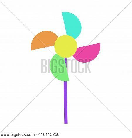 Pinwheel Or Windmill Toy Spinning Vector Flat Cartoon Illustration Isolated Clipart