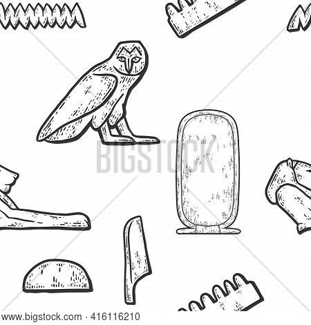 Cartouche Egyptian Seamless Background. Sketch Scratch Board Imitation. Black And White.
