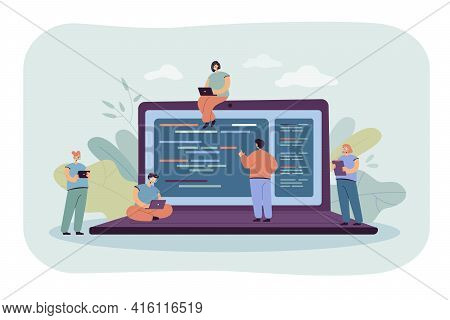 Cartoon Tiny Young Programmers And Coders Working With Computers. Flat Vector Illustration. Giant La