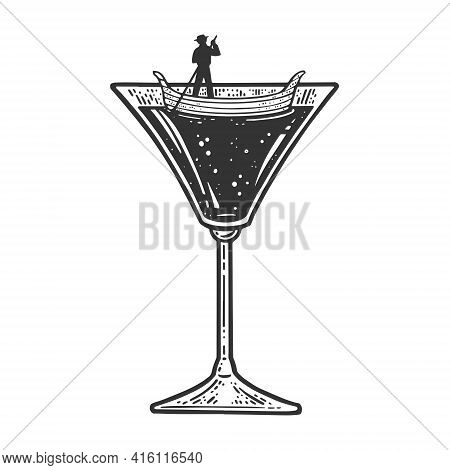 Gondola Boat In Martini Cocktail Glass Sketch Engraving Vector Illustration. T-shirt Apparel Print D