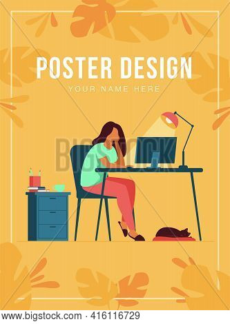 Woman Working At Night In Home Office Isolated Flat Vector Illustration. Cartoon Female Student Lear
