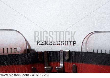 Membership word written with a typewriter.