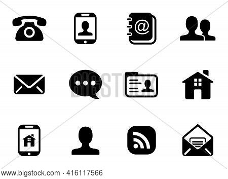 Black Icon Pack Isolated On White Background. Phone Icon, Mail Icon, Chat Icon, Home Icon. Collectio