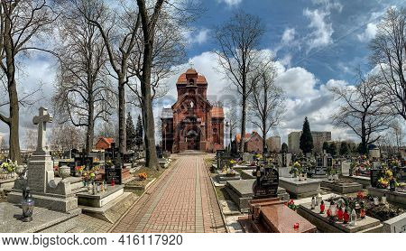 Katowice, Poland - 06 April, 2021: Cemetery Of The Bonifraters In Katowice. The Oldest Necropolis In