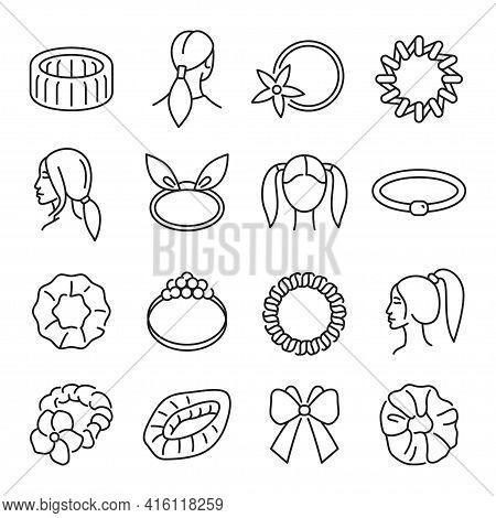 Collection Of Hair Bands Icon Vector Illustration In Monochrome Style. Set Of Hairdo Accessories