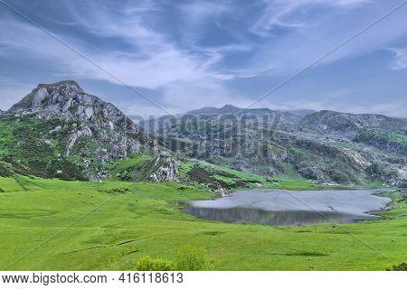 Enol Mountain Lake, Covadonga, Picos De Europa, Asturias, Spain