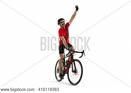 Professional Male Bike Rider On Road Bike Isolated Over White Background.